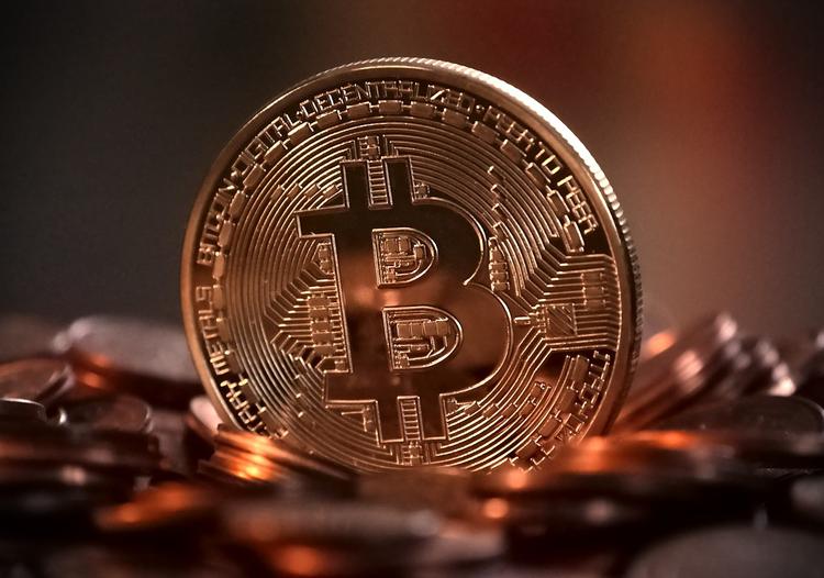 Bitcoin symbol on a coin