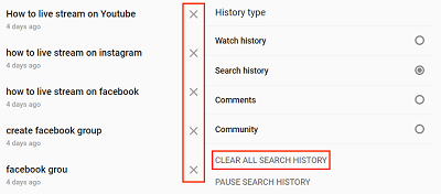 View YouTube search history