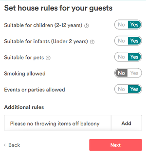 Rules for listing