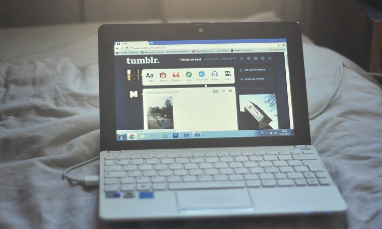 Tumble page open on a laptop