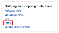 Your Amazon Profile button