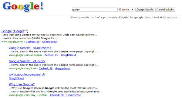 Google Search results page in 1998