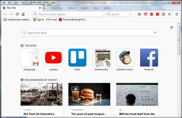 Firefox Internet browser interface