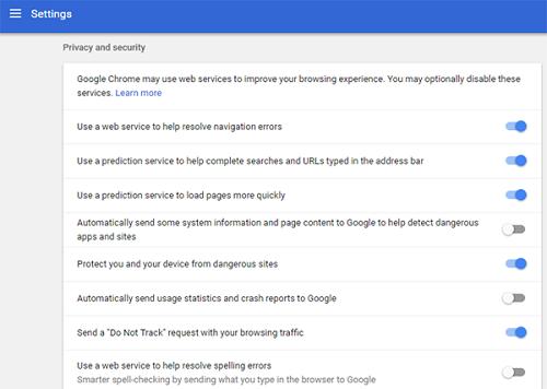 Chrome security settings