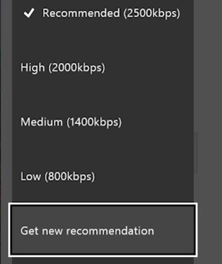 Twitch app bitrate test