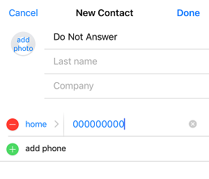 Add generic number to contact list