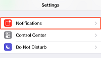 iPhone notifications settings menu