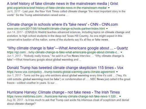 Biased search about global warming in Google
