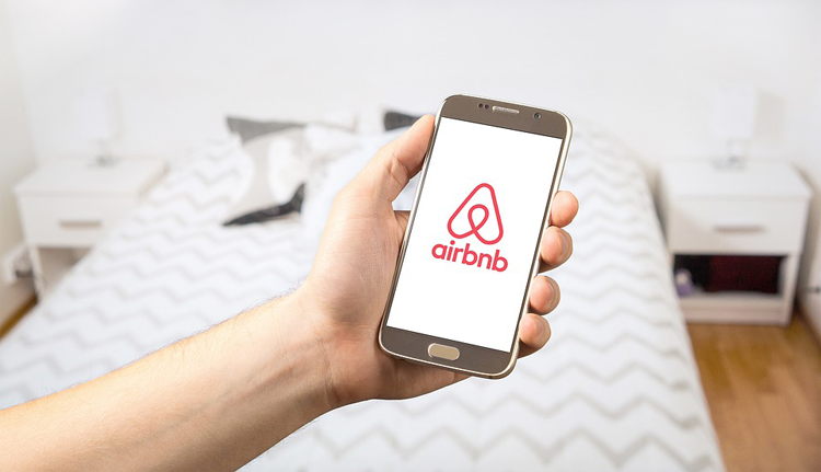 Airbnb app open on a smartphone