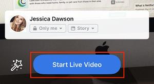 Start Live Video button