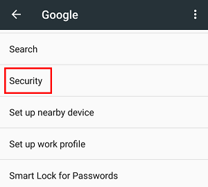 Google Security settings menu option