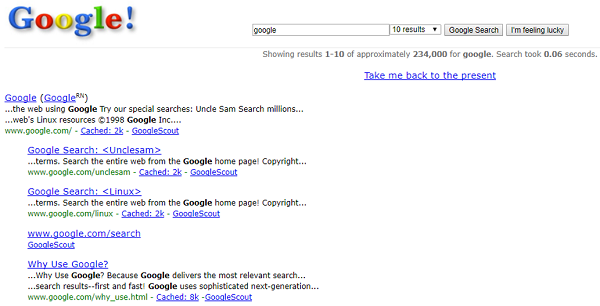 What Google looked like in 1998