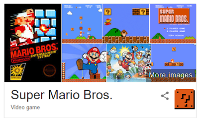 Glowing Super Mario Bros block in Google search results