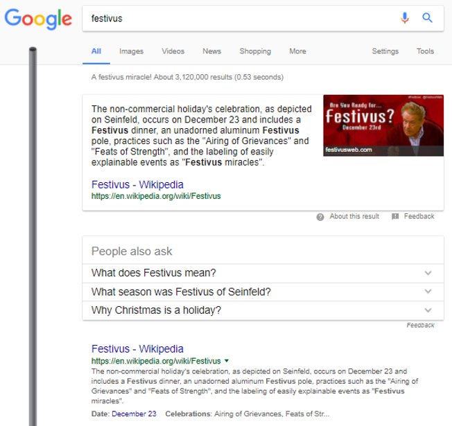 Seinfeld Google search results