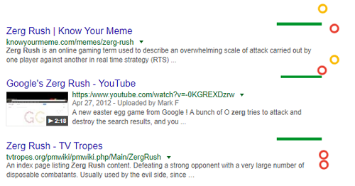 Zerg Rush Google search game