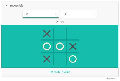 Tic Tac Toe game in progress