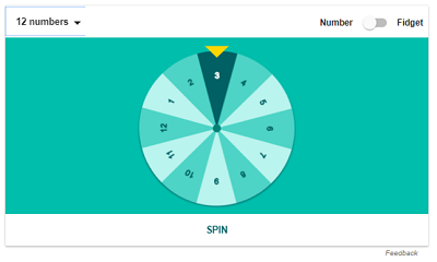 Spinning wheel with numbers 1-12