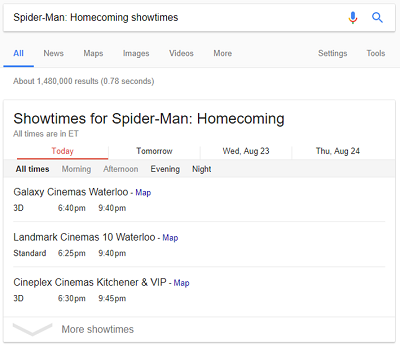 Movie show times for SpiderMan Homecoming