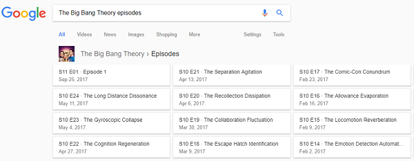 TV episode list for The Big Bang Theory