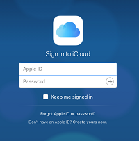 Sign into Apple ID account screen