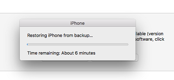 iPhone restoring from backup screen