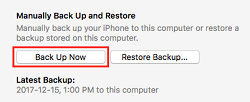 Back Up Now button
