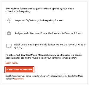 Music Manager app in Google Play store