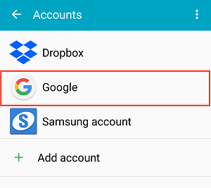 Google Accounts menu option