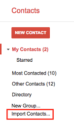 Import Contacts button