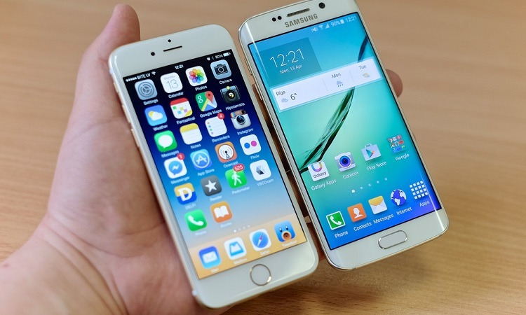 iPhone and Android phone side-by-side