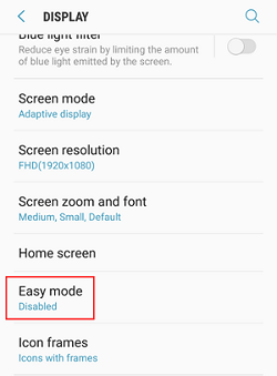 Samsung phone Easy Mode option