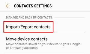 Import or Export Contacts button