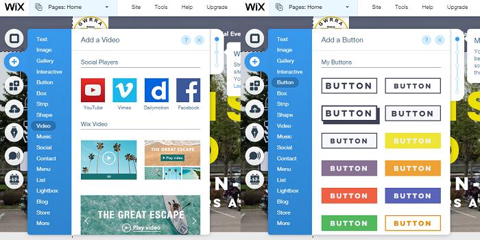 Wix drag and drop menus