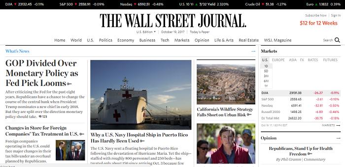 The Wall Street Journal website