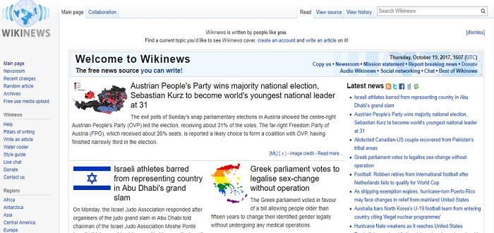 Wikinews website