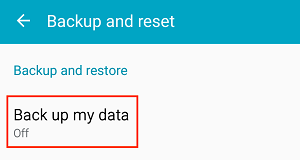 Back Up My Data button