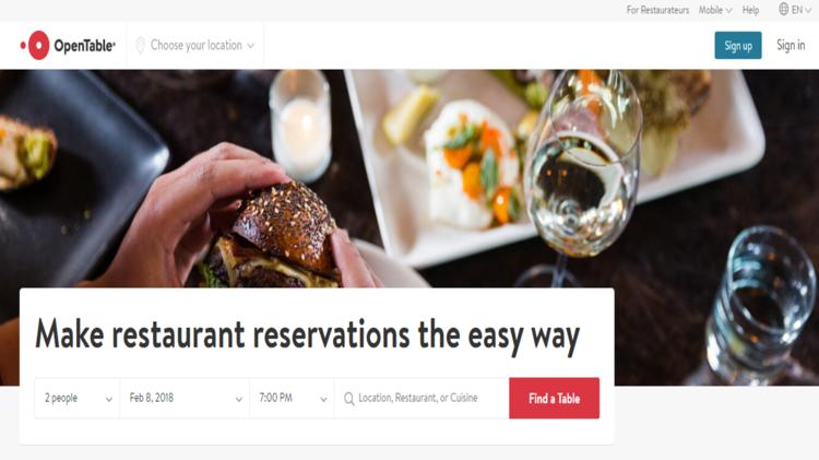 OpenTable homepage